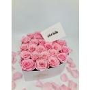 25-roosa roosiga südamekujuline valge karp+ TASUTA kuller Tallinnas