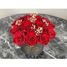 Roosibukett 15-punase roosi ja kipslillega
