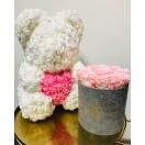 Valge roosikaru roosa südamega 40cm