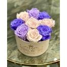 9-roosiga violetne mix roosaga õrn roosas karbis