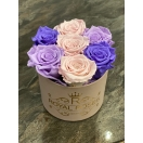 7-roosiga violetne mix roosaga+õrn roosa karp